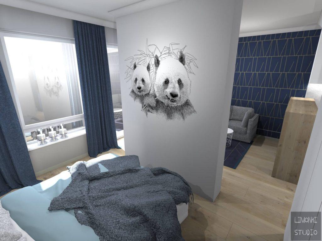 Mural w projekcie sypialni wykonanym przez Biuro Projektowania Wnętrz Limonki Studio