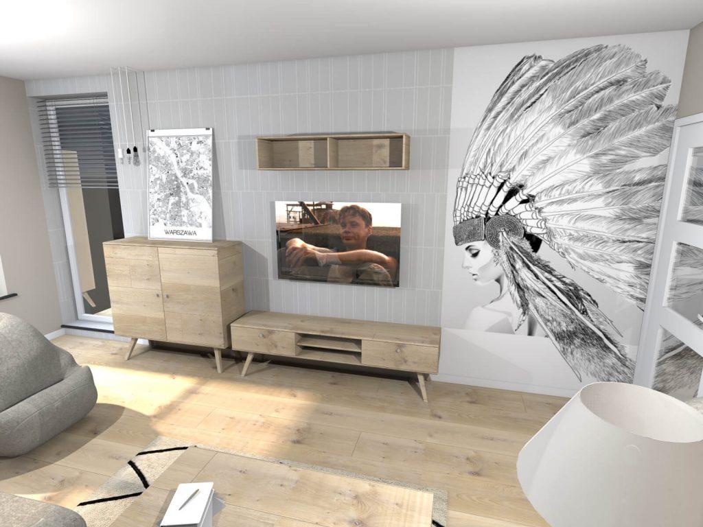 Mural w projekcie salonu wykonanym przez Biuro Projektowania Wnętrz Limonki Studio